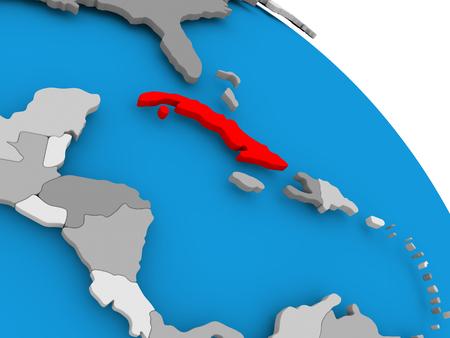 世界の赤で強調表示されているキューバのイラスト。3 D イラスト。 写真素材 - 86908452