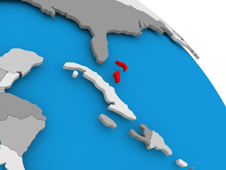Illustration of Bahamas highlighted in red on globe. 3D illustration.