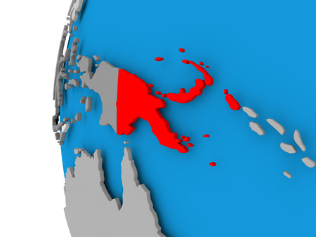 Papua New Guinea in red on political globe. 3D illustration. Stock Photo