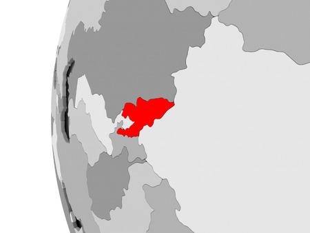 Kyrgyzstan highlighted on grey 3D model of political globe. 3D illustration. Stock Photo