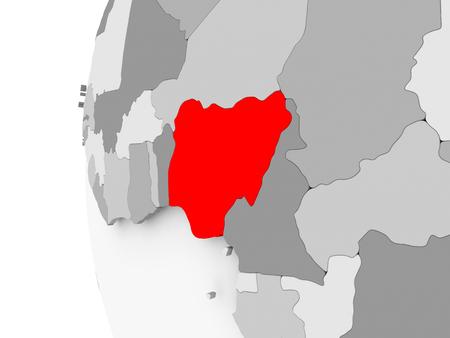 Nigeria highlighted on grey 3D model of political globe. 3D illustration.