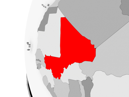 Mali highlighted on grey 3D model of political globe. 3D illustration. Stock Photo