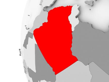 Algeria highlighted on grey 3D model of political globe. 3D illustration.