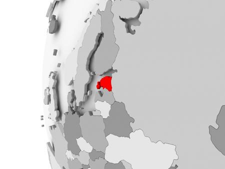 エストニアの政治世界の 3D モデルの灰色で強調表示されます。3 D イラスト。 写真素材 - 86908538