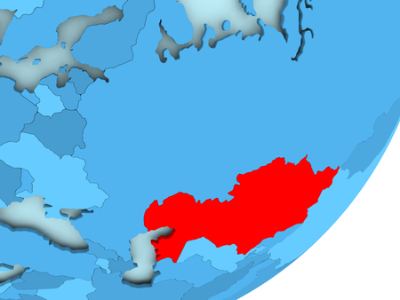 Kazakhstan in red on blue political globe. 3D illustration.