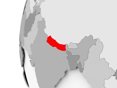 Nepal highlighted on grey 3D model of political globe. 3D illustration.