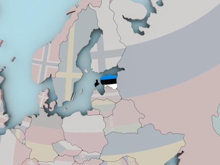 Estonia with national flag on political globe. 3D illustration.