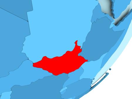 남쪽 수단 파란색 정치 글로브에 빨간색입니다. 3D 그림입니다.
