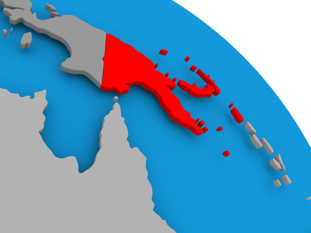 Illustration of Papua New Guinea highlighted in red on globe. 3D illustration. Stock Photo