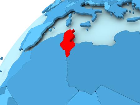 Tunesië in rood op blauw model van politieke wereld. 3D illustratie. Stockfoto