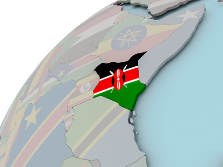 Kenya on political globe with embedded flags. 3D illustration.