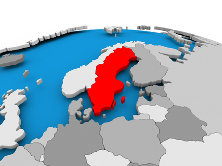 Sweden highlighted in red on political globe. 3D illustration. Stock Photo
