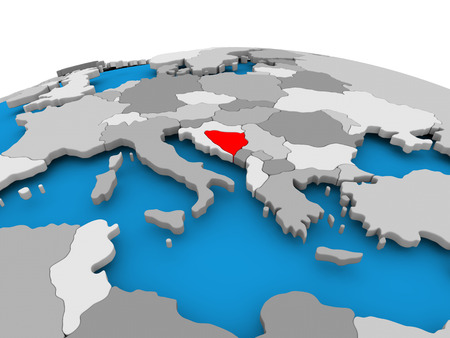 Bosnia and Herzegovina highlighted in red on political globe. 3D illustration. Stock Photo