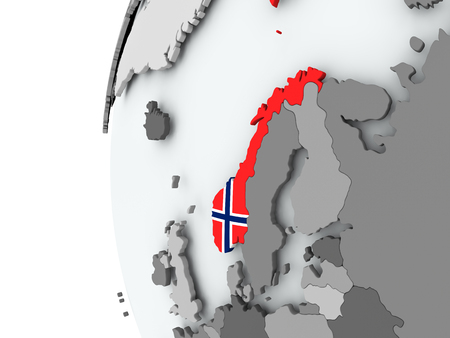 Illustration of Norway on political globe with embedded flag. 3D illustration. Stock Photo