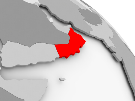 3D render of Oman in red on grey political globe. 3D illustration. Stock Photo