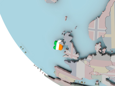 Map of Ireland on political globe with embedded flags. 3D illustration.