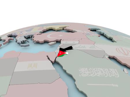 Jordanië met nationale vlag op politieke wereld. 3D illustratie. Stockfoto