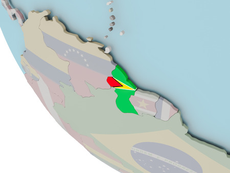 Map of Guyana on political globe with embedded flags. 3D illustration.