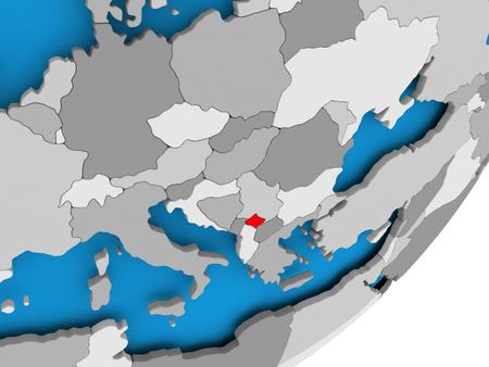 3D render of Kosovo on political globe. 3D illustration.