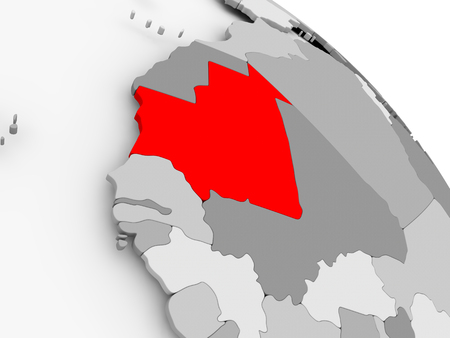 3D render of Mauritania in red on grey political globe. 3D illustration.