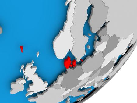 3D render of Denmark on political globe. 3D illustration.