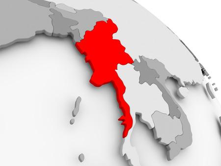 3D render of Myanmar in red on grey political globe. 3D illustration. Stock Photo