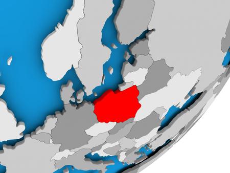 3D render of Poland on political globe. 3D illustration.