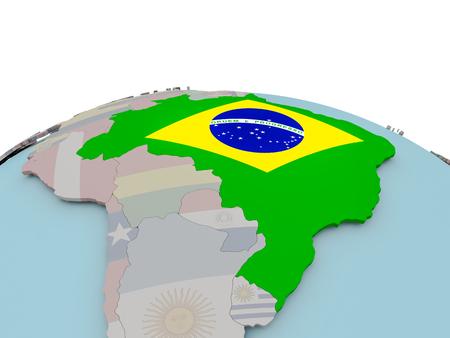 Brazil with national flag on political globe. 3D illustration.