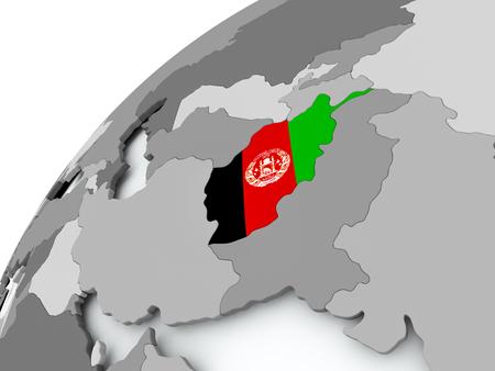 Afghanistan with embedded flag on globe. 3D illustration.