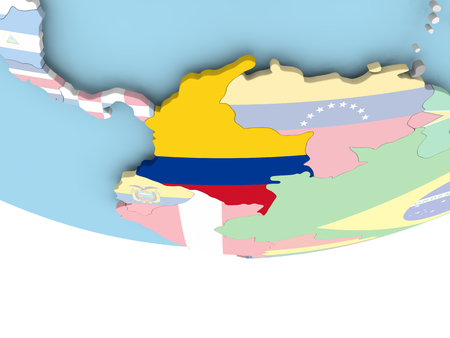 Colombia on globe with flag. 3D illustration.