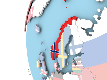 Norway on political globe with flag. 3D illustration.