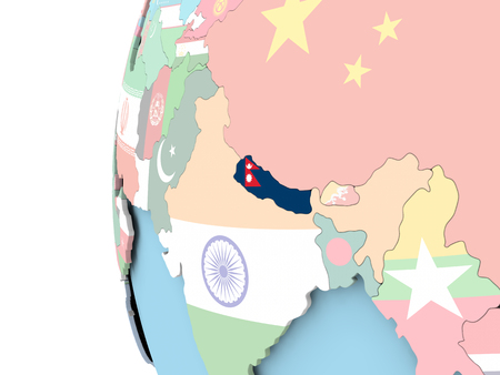 Nepal on political globe with flag. 3D illustration. Фото со стока