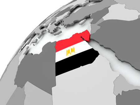 Egypt with embedded flag on globe. 3D illustration.