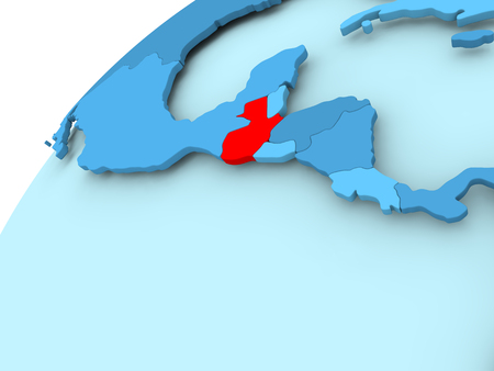 Guatemala in red on blue model of political globe. 3D illustration.