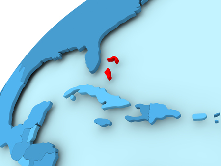 Bahamas in red on blue model of political globe. 3D illustration.