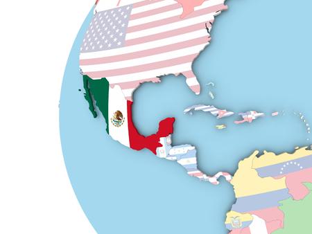 México en el mundo político con bandera. Ilustración 3D. Foto de archivo - 87183206