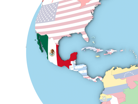 Mexico on political globe with flag. 3D illustration. Stock Photo