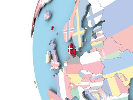 danish flag: Denmark on political globe with flag. 3D illustration. Stock Photo