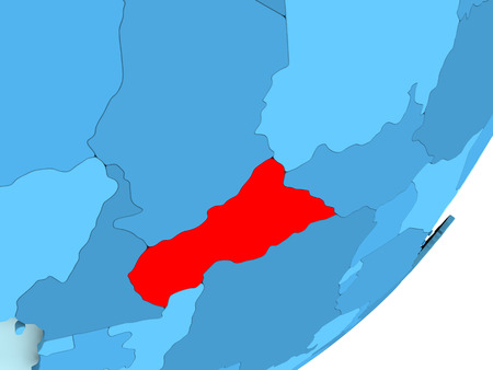 Central Africa in red on blue political globe. 3D illustration.