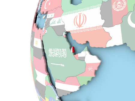 Qatar on political globe with flag. 3D illustration. Stock Photo