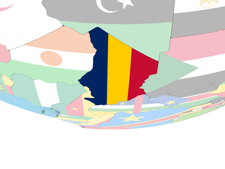 Chad on globe with flag. 3D illustration.