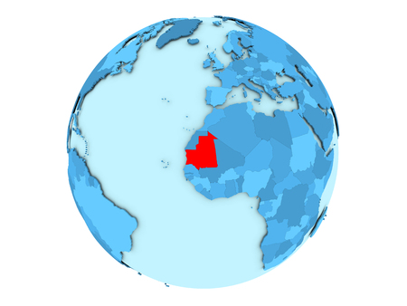 Mauritania highlighted in red on blue political globe. 3D illustration isolated on white background.