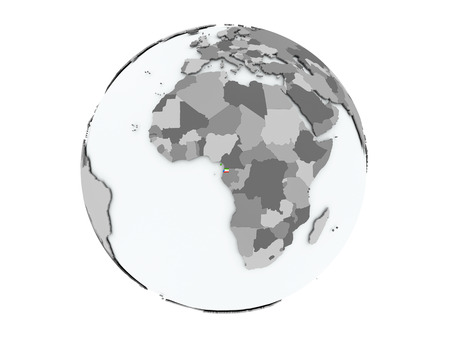 Equatorial Guinea on political globe with embedded flags. 3D illustration isolated on white background.