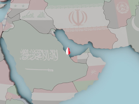 Qatar with national flag on political globe. 3D illustration.