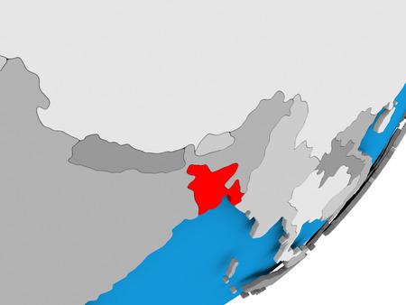 3D render of Bangladesh on political globe. 3D illustration.