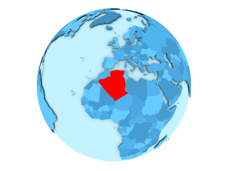 algeria: Algeria highlighted in red on blue political globe. 3D illustration isolated on white background.