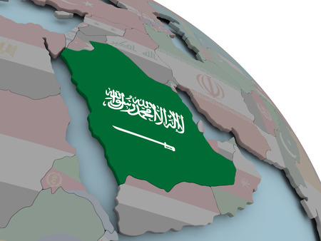 Illustration of Saudi Arabia on political globe with embedded flags. 3D illustration.