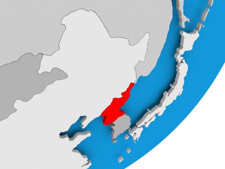 3D render of North Korea on political globe. 3D illustration.