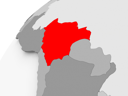 Map of Bolivia in red on grey political globe. 3D illustration. Reklamní fotografie