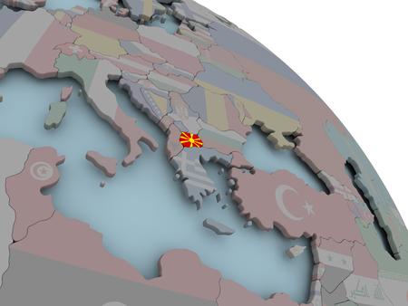 Illustratie van Macedonië op politieke wereld met ingesloten vlaggen. 3D illustratie. Stockfoto - 87265572